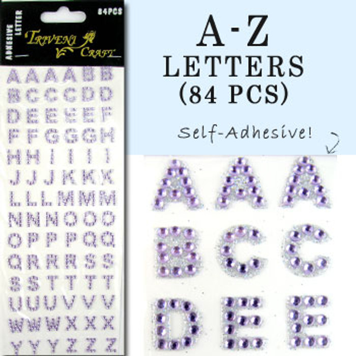 10mm (3/8 in.) Light Purple Alphabet Letters, Flatback Rhinestones (84 pcs) Self-Adhesive - Easy Peel Strips
