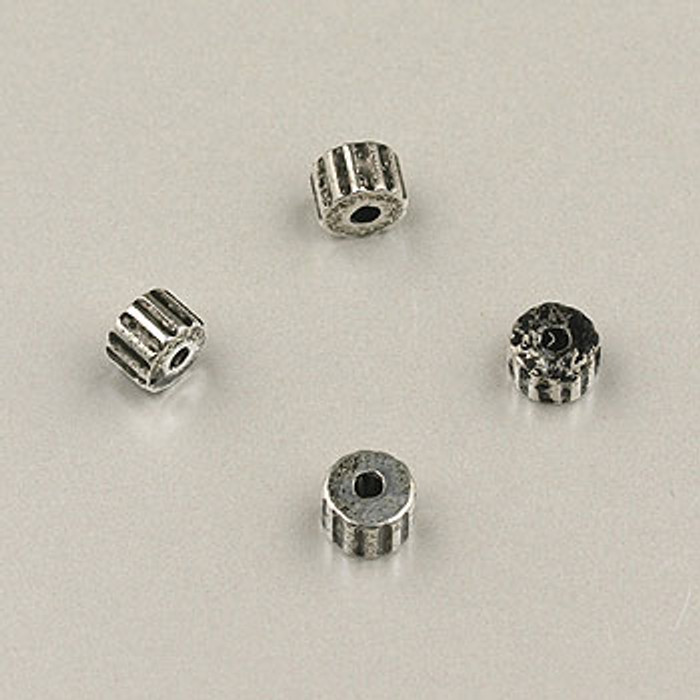 SP0007 - 4mm 'Gear' Beads Silver Plate (pkg of 200)