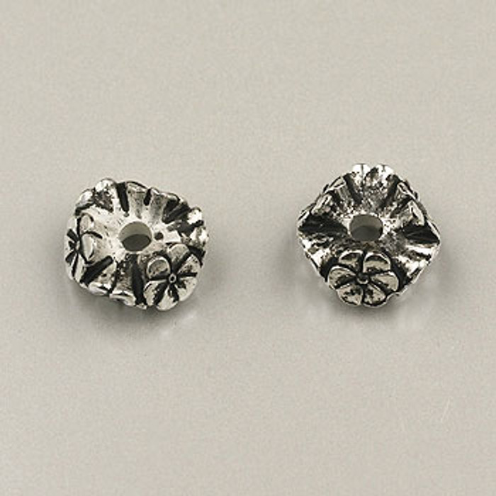 SP0018 - 10mm Flower Rondelle Silver Plate (pkg of 25)
