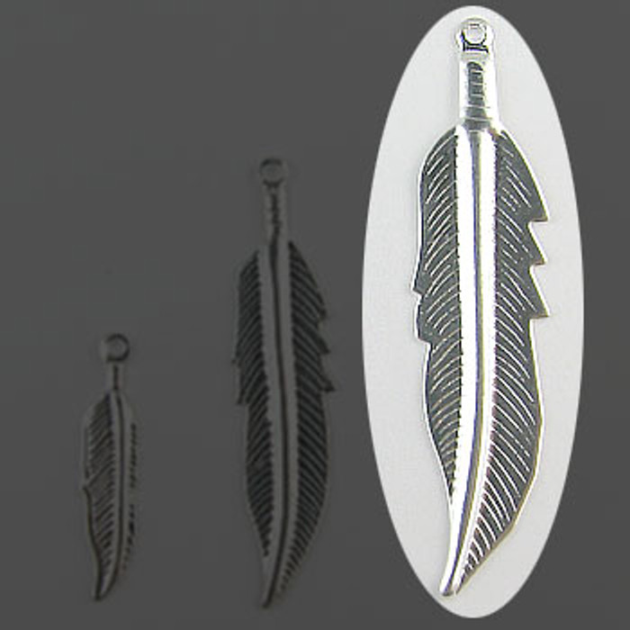 "Feather Silver Plate (pkg of 100) 1 3/4"" Length (45mm)"
