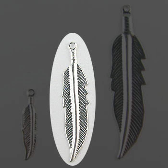 "Feather Silver Plate (pkg of 100) 1 1/4"" Length (34mm)"