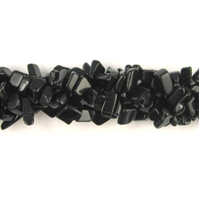 SPSC006 - Black Onyx Semi-Precious Stone Chip Beads (36 in. strand)