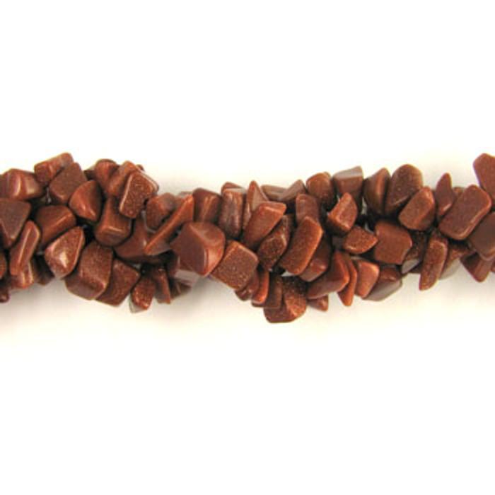 SPSC015 - Brown Goldstone Semi-Precious Stone Chip Beads (36 in. strand)