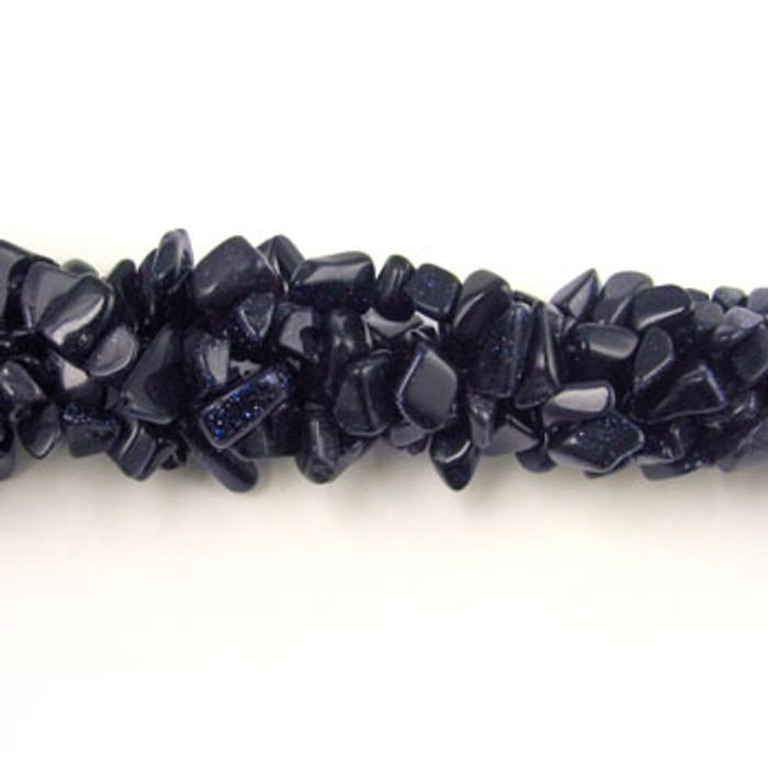 SPSC016 - Blue Goldstone Stone Chip Beads (36 in. strand)