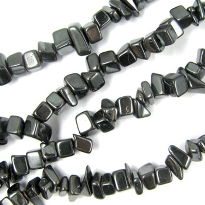 SPSC047 - Hematite Semi-Precious Stone Chip Beads (36 in. strand)