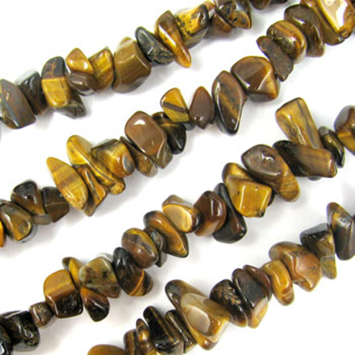 SPSC048 - Yellow Tiger Eye Semi-Precious Stone Chip Beads (36 in. strand)