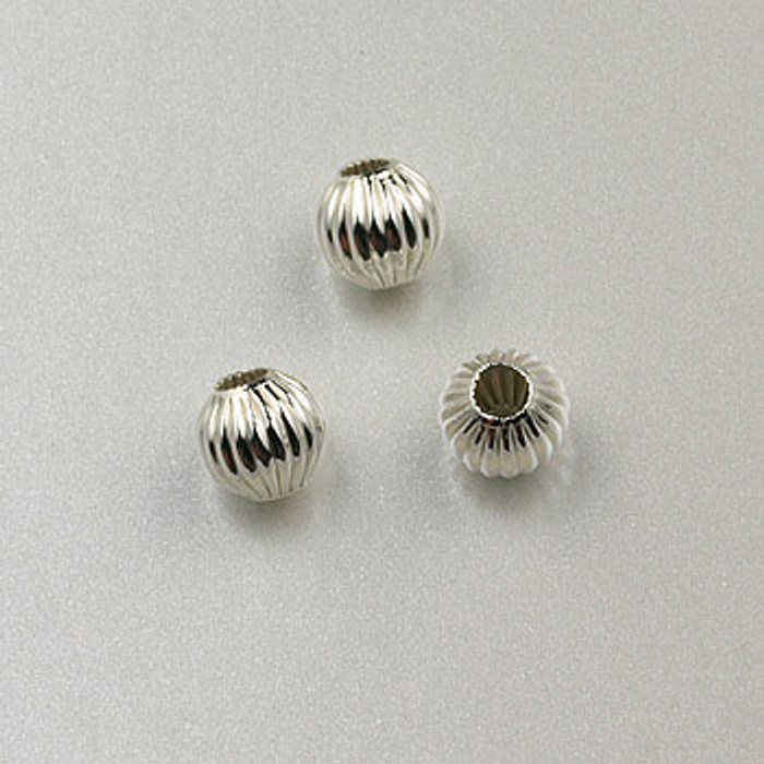 SS0019 - 4mm Corrugated Round Bead, Sterling Silver (pkg of 25)