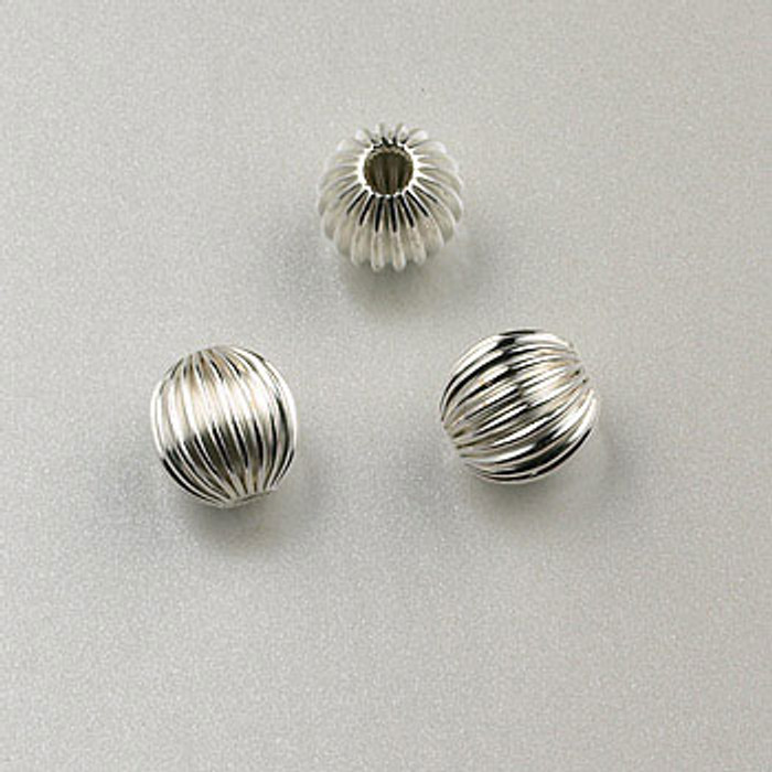 SS0020 - 5mm Corrugated Round Bead, Sterling Silver (pkg of 25)