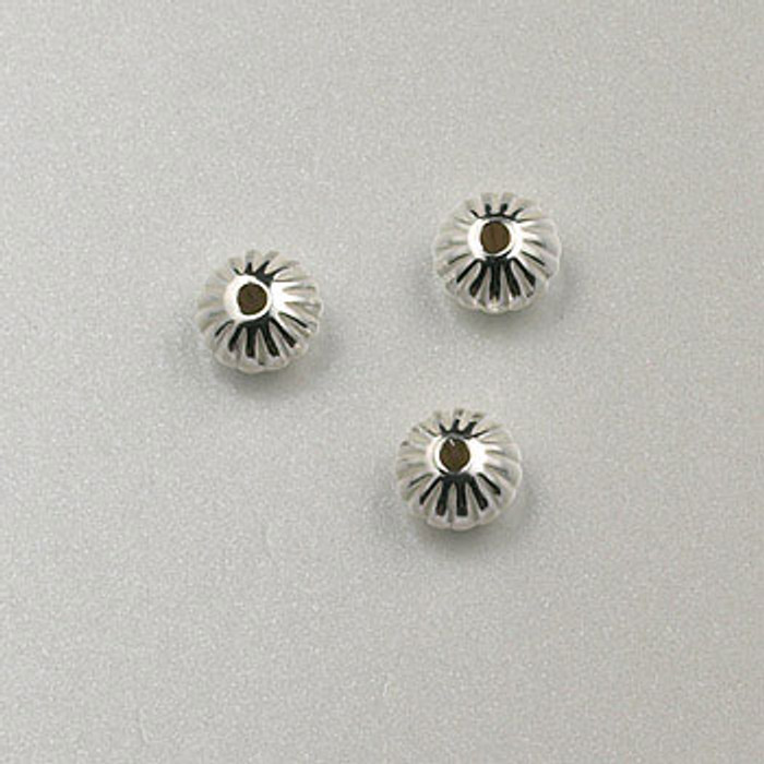 SS0025 - 4mm Corrugated Dome Rondelle, Sterling Silver (pkg of 50)