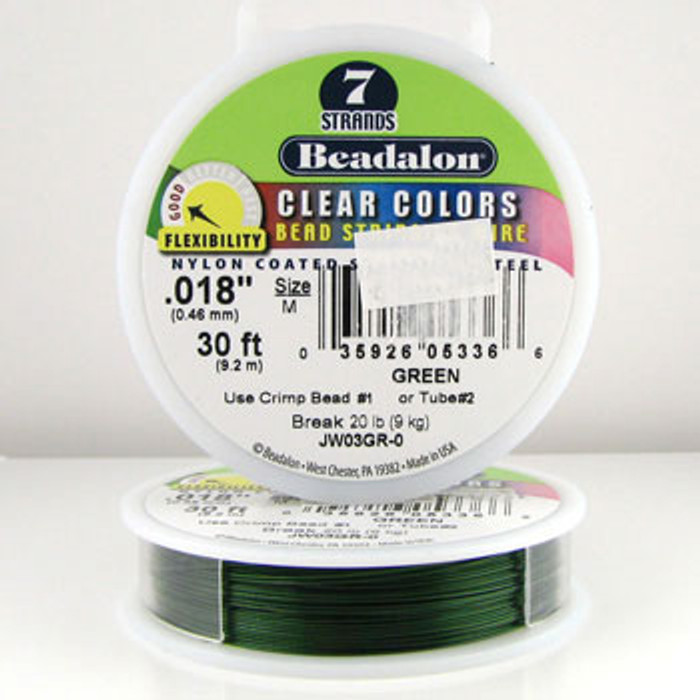 STR0001 - Green, .018 in., Beadalon 7-Strand Clear Colors - JW03GR00 (30 ft spool)