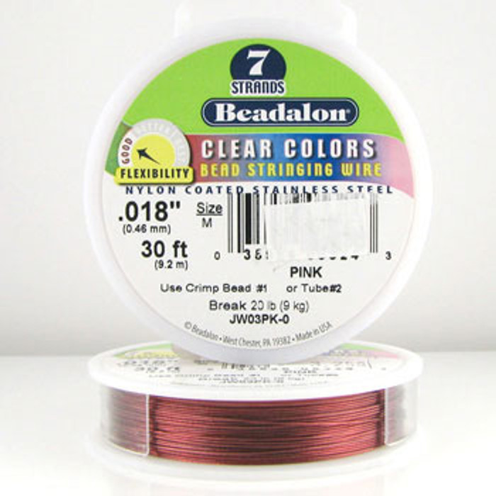 STR0003 - Pink, .018 in., Beadalon 7-Strand Clear Colors - JW03PK00 (30 ft spool)