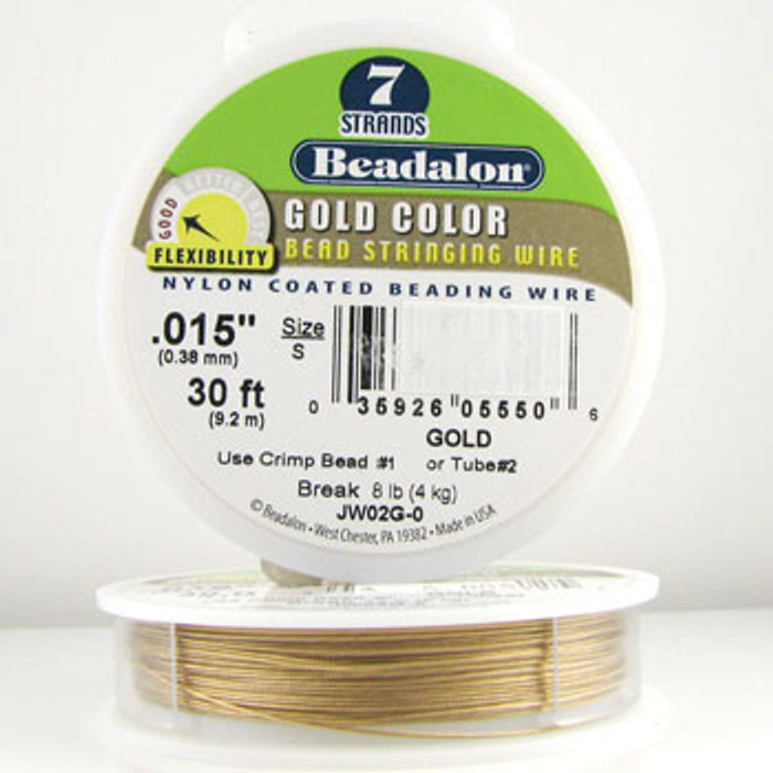STR0018 - Gold, .015 in., Beadalon 7-Strand Gold Color Nylon Coated Beading Wire - JW02G00 (30 ft spool)
