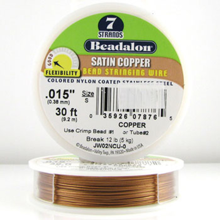 STR0022 - Copper, .015 in., Beadalon 7-Strand Satin Copper Nylon Coated Beading Wire - JW02NCU00 (30 ft spool)