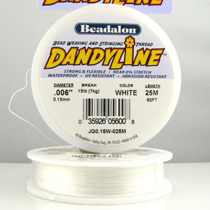 STR0033 - White, .006 in., Beadalon Dandyline (82 ft spool)