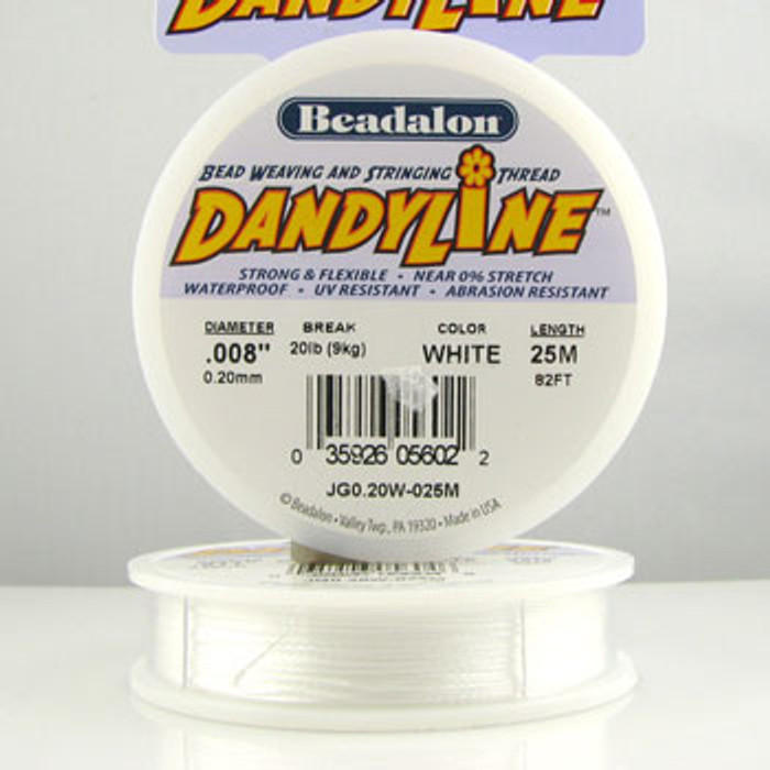 STR0034 - White, .008 in. Beadalon Dandyline (82 ft spool)