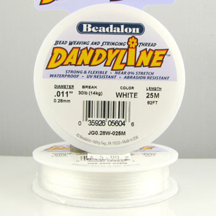 STR0035 - White, .011 in. Beadalon Dandyline (82 ft spool)