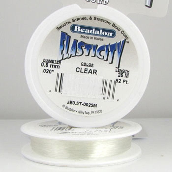 STR0037 - Clear, .5mm, .020 in., Beadalon Elasticity - JE0.5T00025M (82 ft spool)
