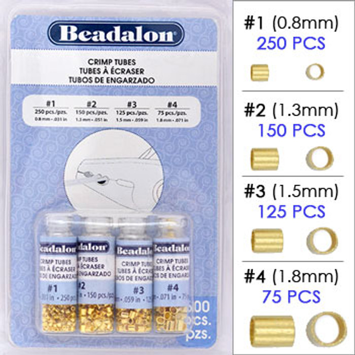 Beadalon Crimp Tubes Variety Pack, Gold Plated Assortment, Size #1, #2, #3 & #4 (600 pcs)
