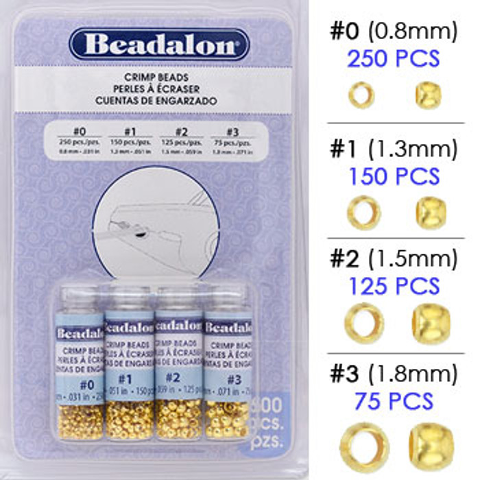 Beadalon Crimp Bead Variety Pack, Gold Plated Assortment, Size #0, #1, #2 & #3 (600 pcs)