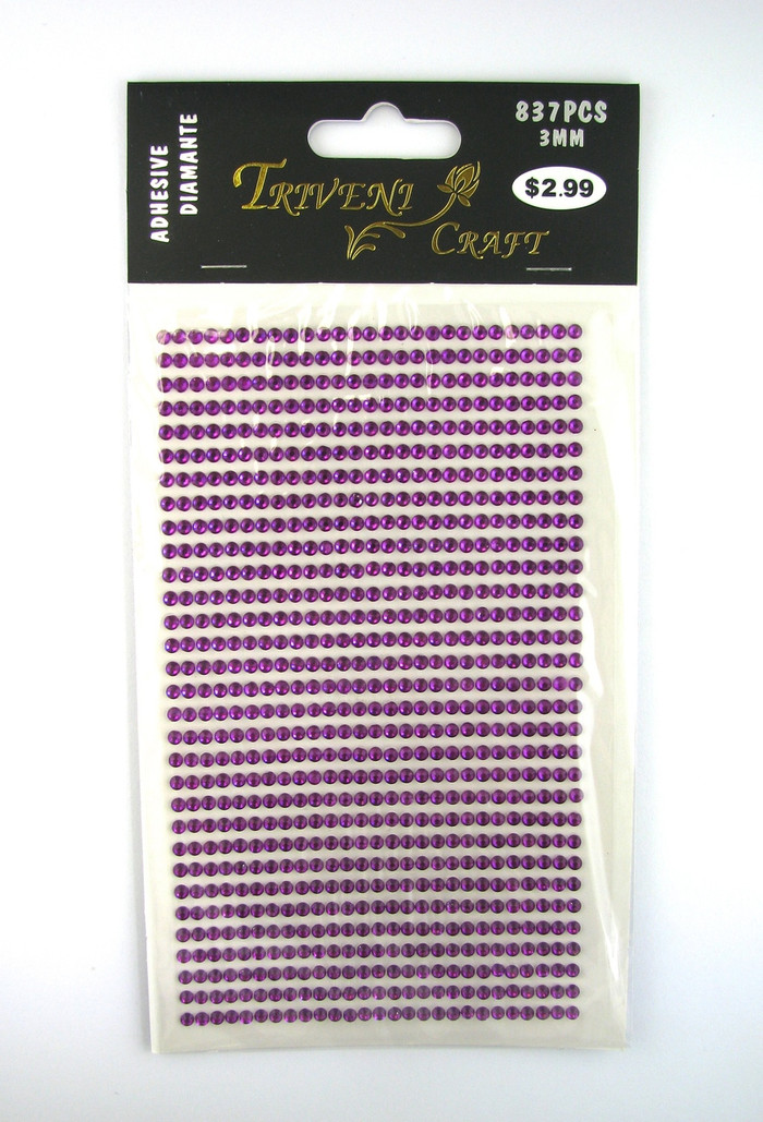 3mm Purple Fuchsia Flatback Rhinestones (837 pcs) Self-Adhesive - Easy Peel Strips