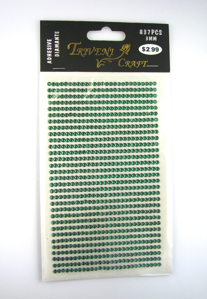 3mm Dark Green Flatback Rhinestones (837 pcs) Self-Adhesive - Easy Peel Strips