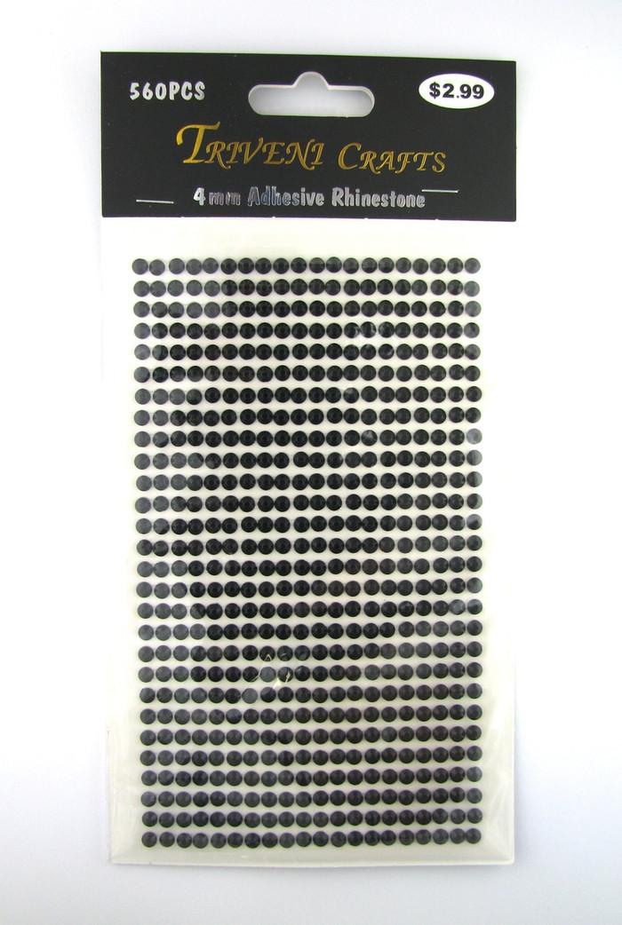 4mm Black Flatback Rhinestones (560 pcs) Self-Adhesive - Easy Peel Strips