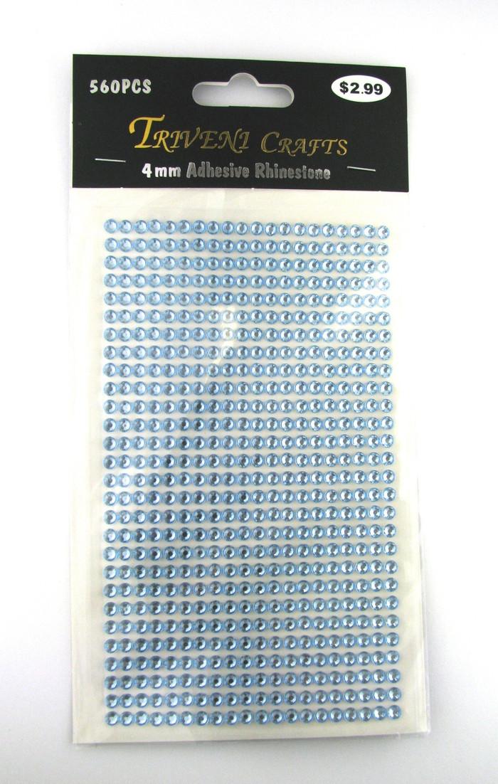 4mm Light Blue Flatback Rhinestones (560 pcs) Self-Adhesive - Easy Peel Strips