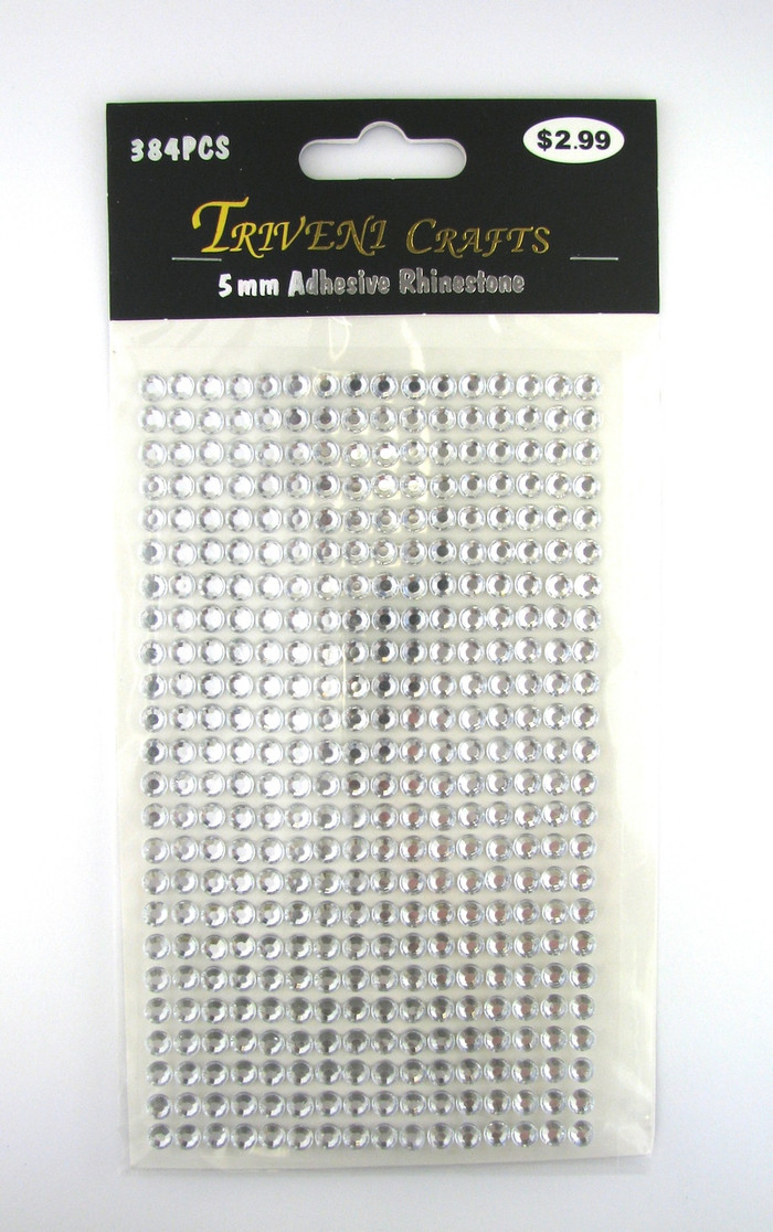 5mm Clear Flatback Rhinestones (384 pcs) Self-Adhesive - Easy Peel Strips