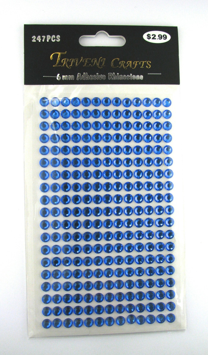 6mm Blue Flatback Rhinestones (247 pcs) Self-Adhesive - Easy Peel Strips