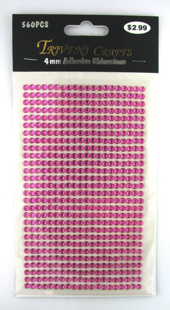 4mm Hot Pink Flatback Rhinestones (560 pcs) Self-Adhesive - Easy Peel Strips