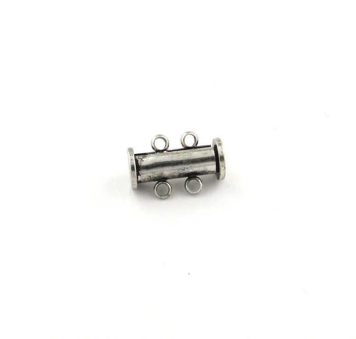 ASP015 - 16mm 2-strand Magnetic Tube Clasp, Antique Silver Plated (each)