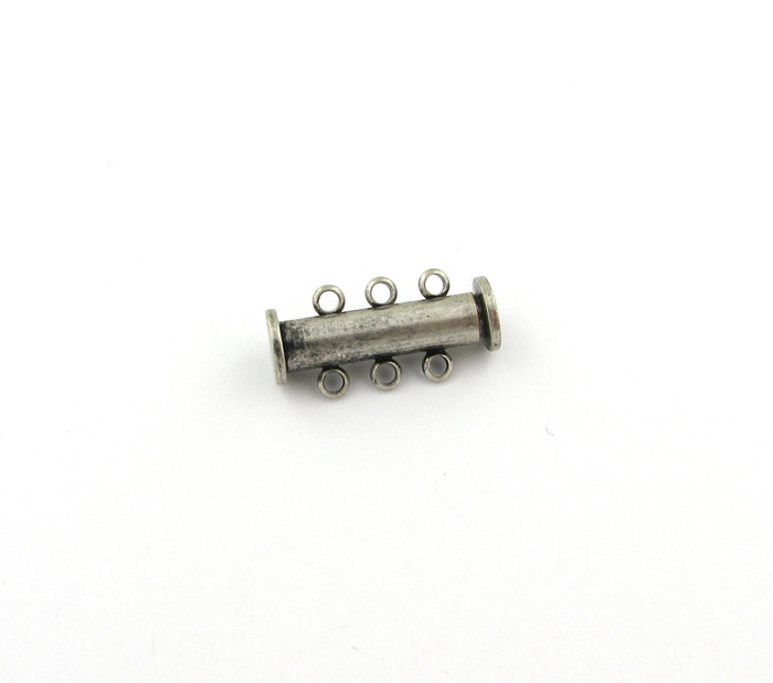 ASP016 - 20mm 3-Strand Magnetic Tube Clasp, Antique Silver Plated (each)