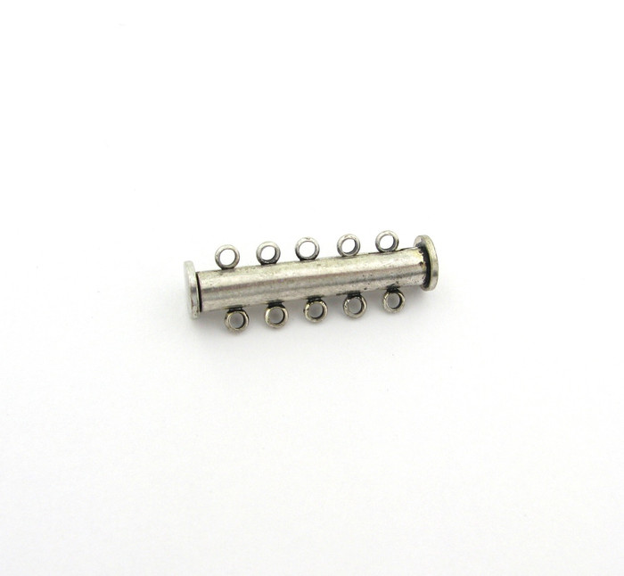 ASP017 - 30mm 5-Strand Magnetic Tube Clasp, Antique Silver Plated (each)
