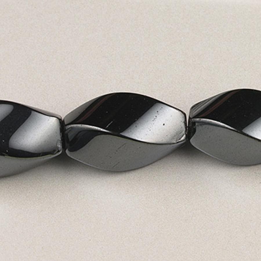 H024 - 8x16mm Twist Oval, Hematite (16 in. strand)
