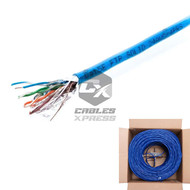 Shielded 1000FT CAT5E Solid FTP Cable CAT5 Wire Network Ethernet Blue