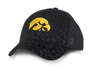 Iowa Hawkeyes Black and Gold Laser Cut Men's Hat - Calvin
