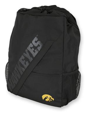 Iowa Hawkeyes Black Drawstring Backpack - Colby