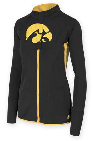 Iowa Hawkeyes Black & Gold Fitness Jacket - Alice