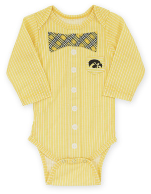 Iowa Hawkeyes Black & Gold Infant Onesie with Bow Tie - Andre