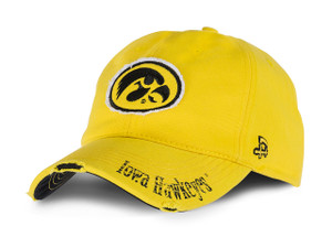 Iowa Hawkeyes Black & Gold Distressed Cap - Camilla