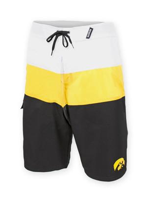 Iowa Hawkeyes Black, Gold, & White Board Shorts - Aaron