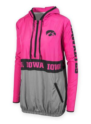 Iowa Hawkeyes Women's Black and Pink Windbreaker - Betsy