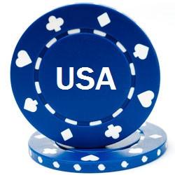 Custom Hot Stamped Blue Suited Design Poker Chips
