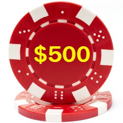 Custom Hot Stamped Red Striped Dice Poker Chips