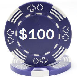 Custom Hot Stamped Purple Royal Suited Poker Chips