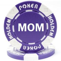 Custom Hot Stamped Purple Suited Hold'em Poker Chips