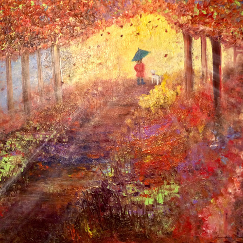 Never walk alone is a large square mixed media painting on canvas.
