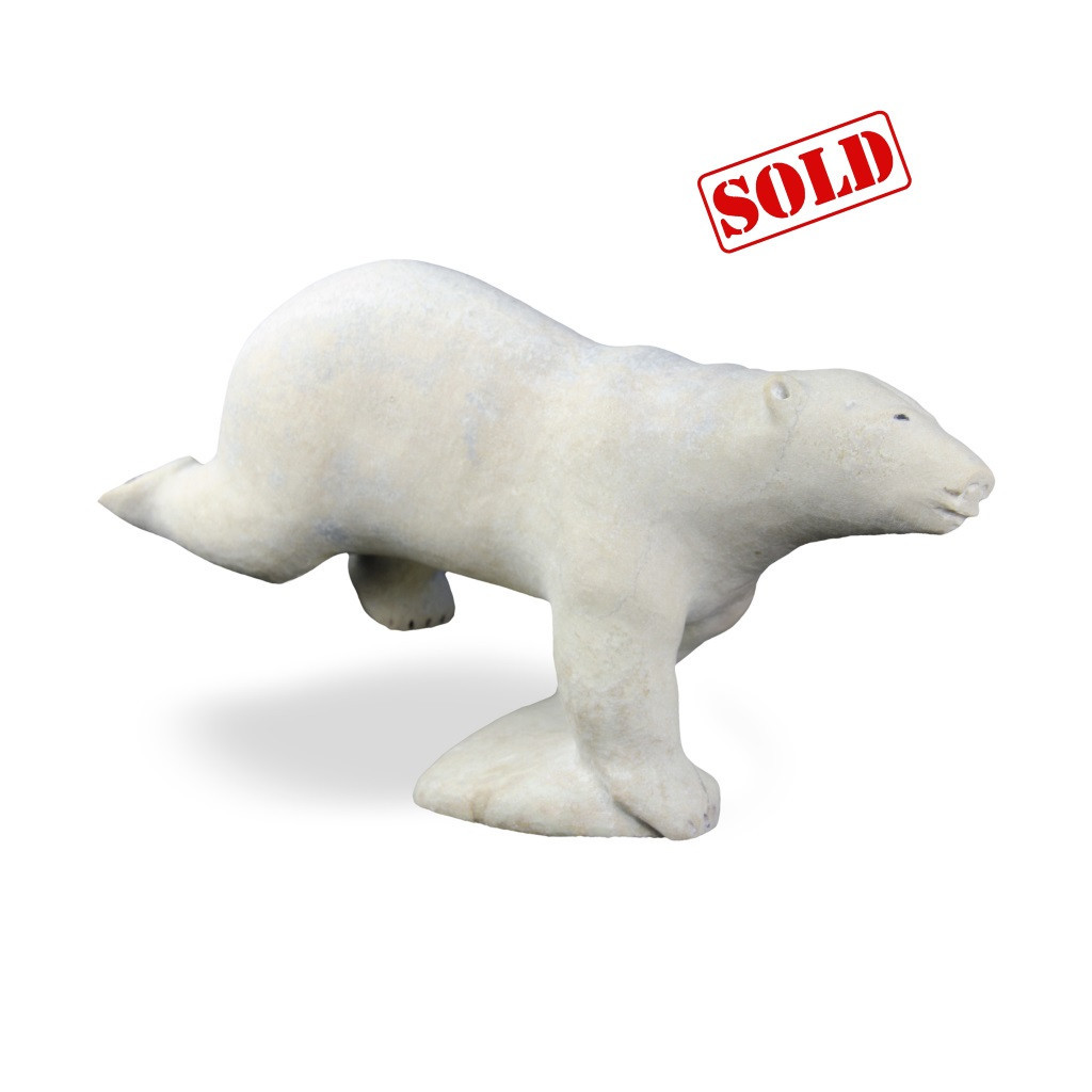 Inuit Polar Bear Sculpture by Jake Kadluk