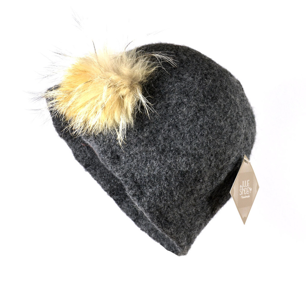 Charcoal Grey Fur Cloche by Julie Sinden Handmade - Ships in Canada Only