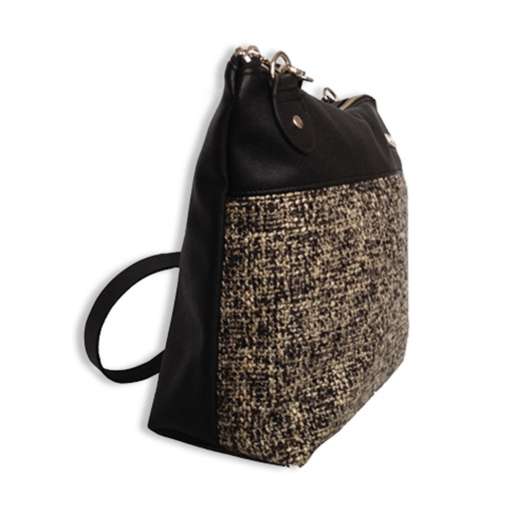 Doe Cross Body Purse (Woven Black / White) by Taska